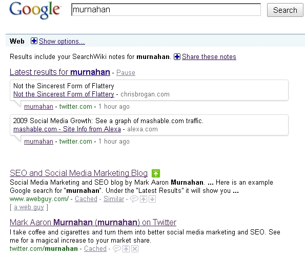 Social Feed in Google Search Results