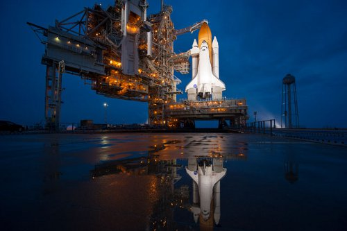 Space Shuttle Atlantis at NASA Kennedy Space Center Launch Pad 39A
